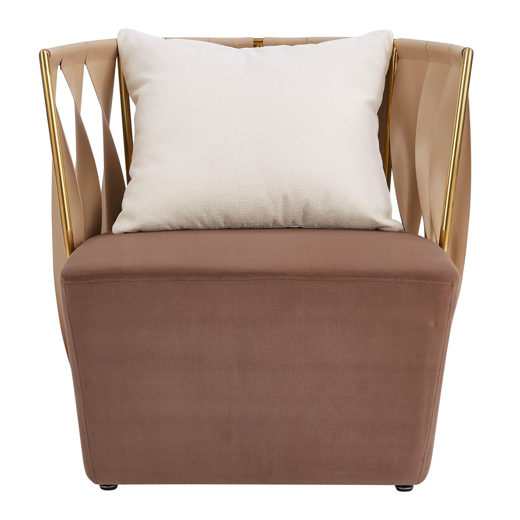 Aurora Recycled Leather/ Fabric Chair w/ Pillow - What A Room Furniture