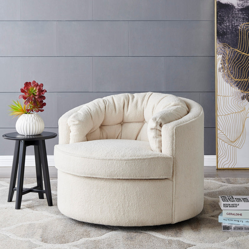 Priscille Faux Shearling Fabric Swivel Accent Arm Chair - What A Room