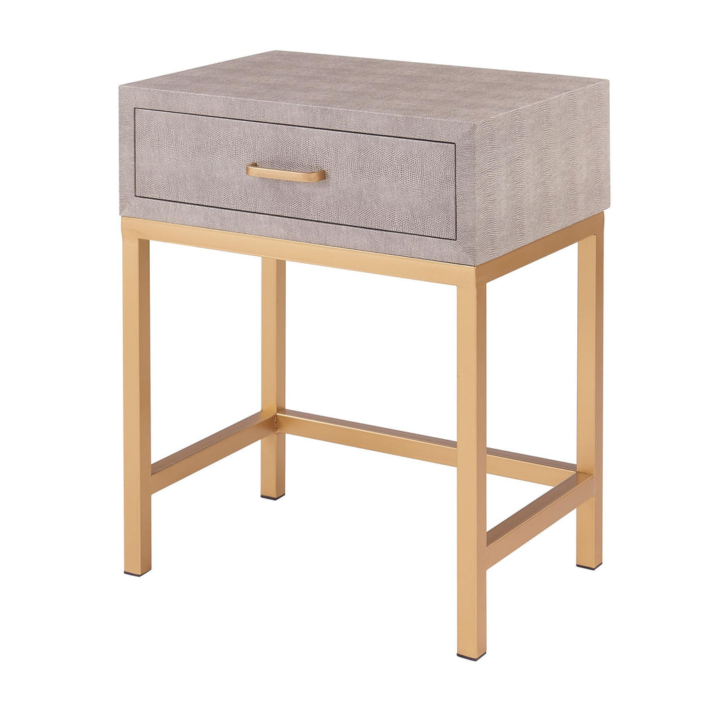 Durham Shagreen End Table 1 Drawer