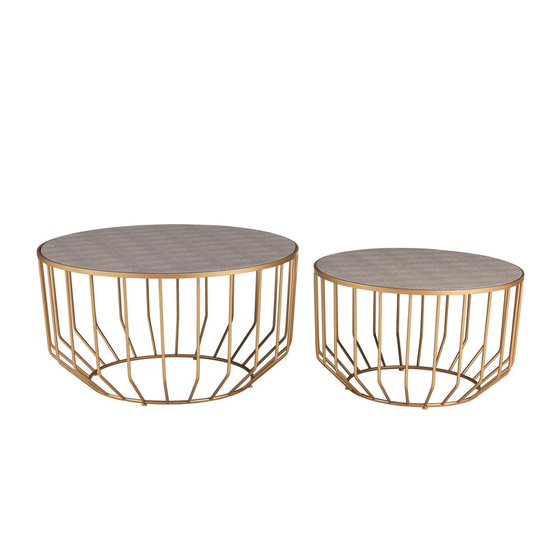 Halton KD Shagreen Round Coffee Table Set of 2 - What A Room Furniture