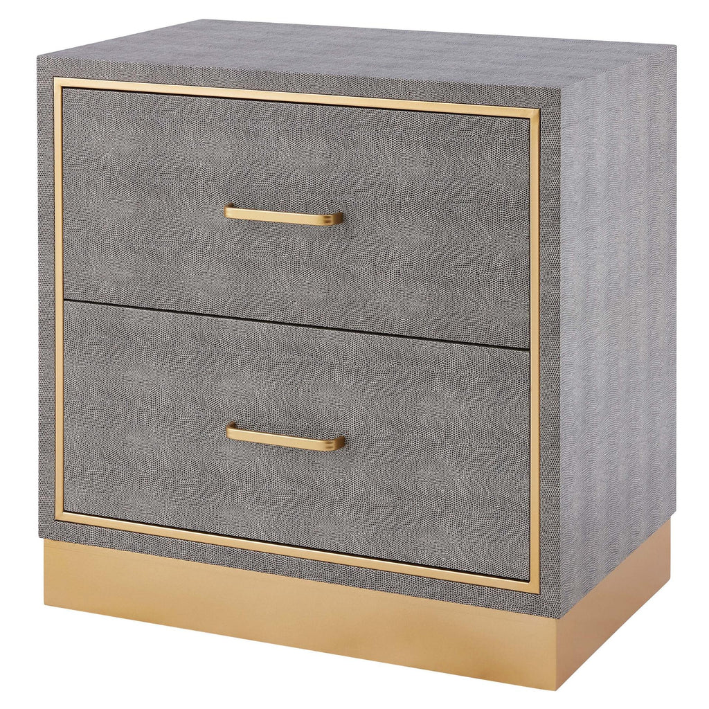 Edinburgh Faux Shagreen End table 2 drawers - What A Room Furniture