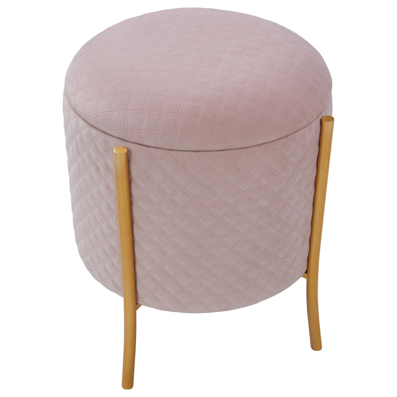 Casper Quilted Velvet Fabric Round Storage Ottoman - What A Room Furniture