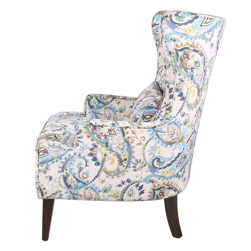 Clementine Fabric Wing Accent Arm Chair Wenge Legs - What A Room