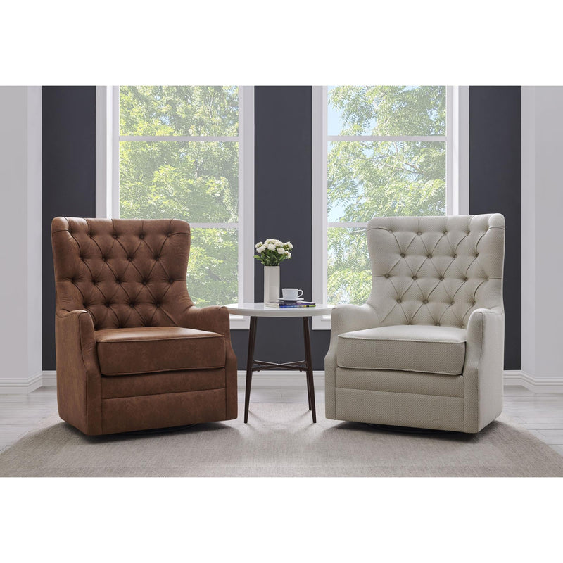 Anthony Fabric Swivel Rocker Tufted Accent Arm Chair - What A Room