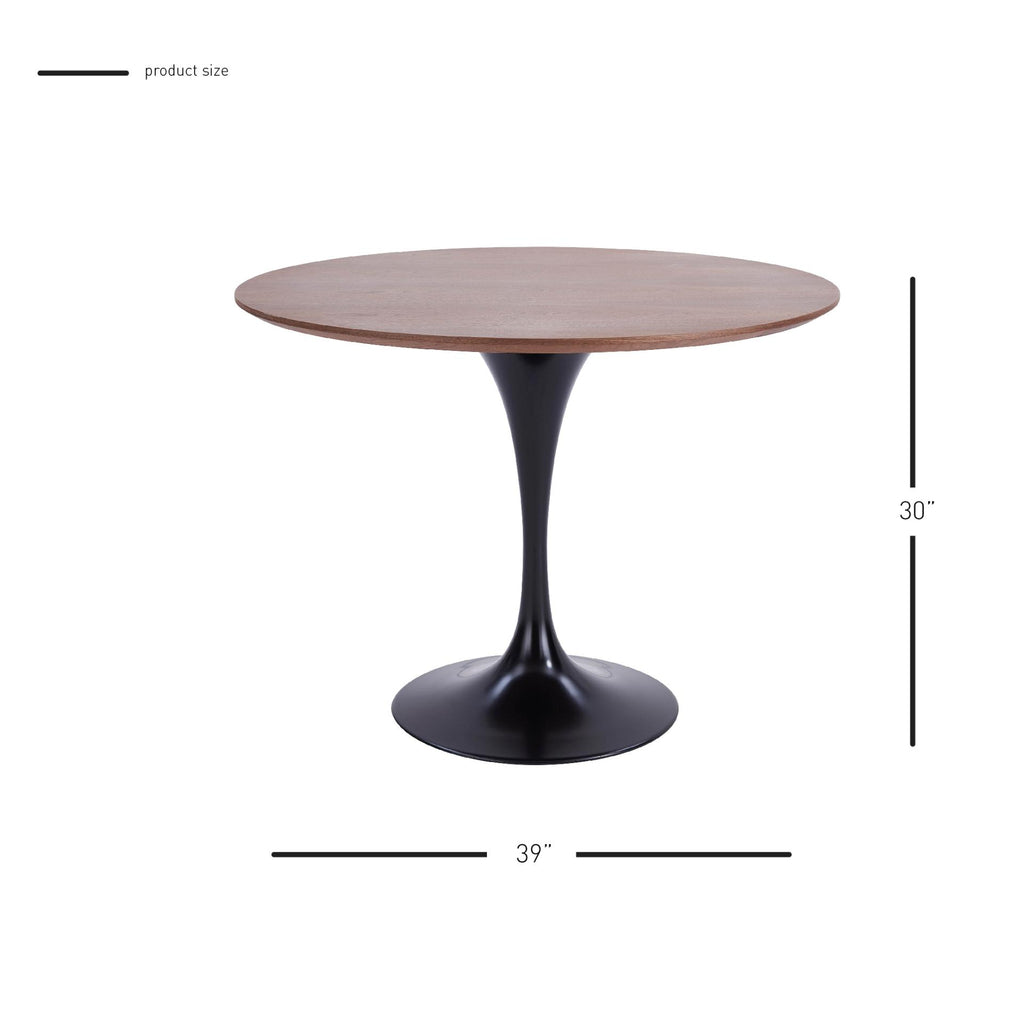 "Allie 39"" Round Table Black Leg - What A Room Furniture"