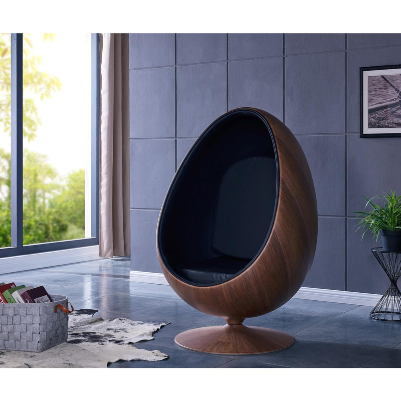 Clovis PU Cocoon Chair Dark Walnut Frame