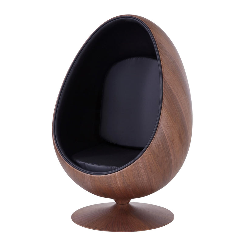 Nero PU Swivel Chair Dark Walnut Frame