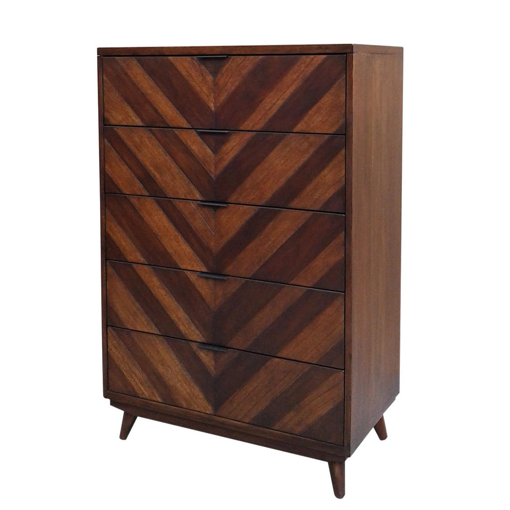 Piero Chevron Chest with 5 Drawers