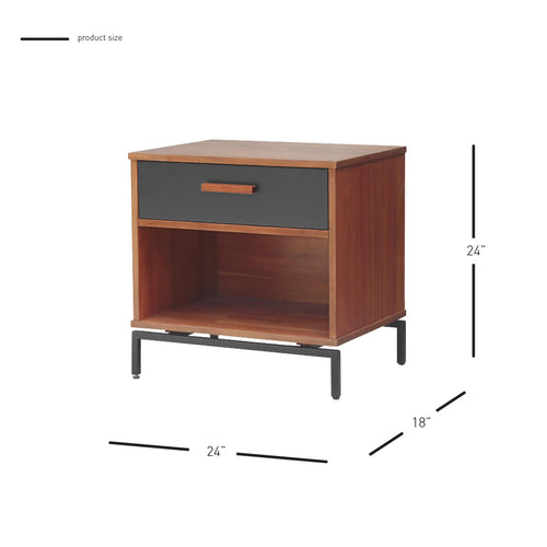 Bellevue Nightstand/ Side Table 1 Drawer Graphite Metal Legs - What A Room