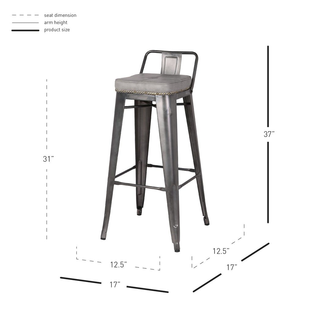 Metropolis Low Back Bar Stool - What A Room Furniture