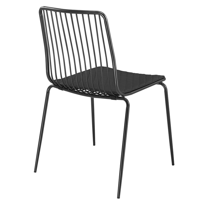 Thomas Metal Dining Side Chair Black Cushion - What A Room