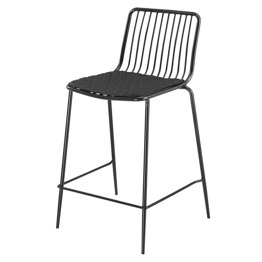 Thomas Metal Counter Stool Black Cushion - What A Room Furniture