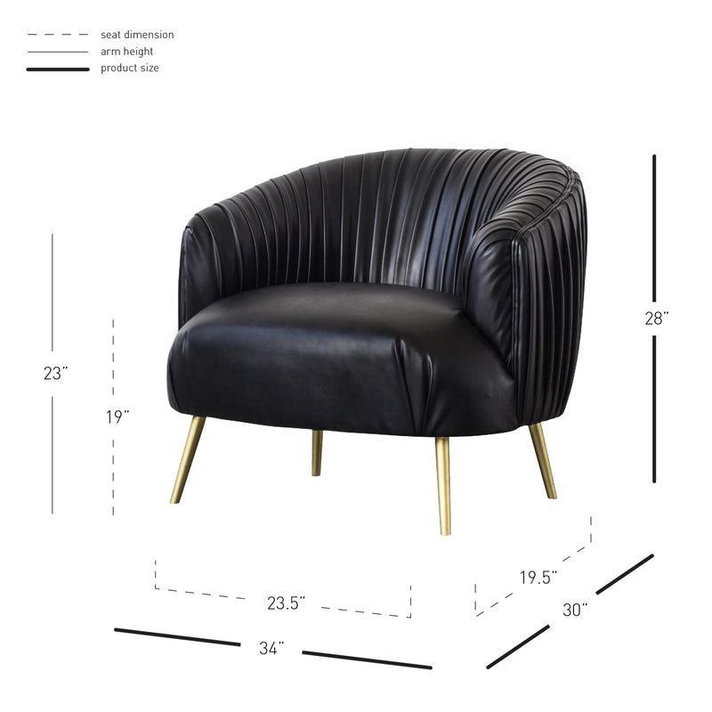 Anna PU Pleated Accent Chair Gold Legs - What A Room Furniture