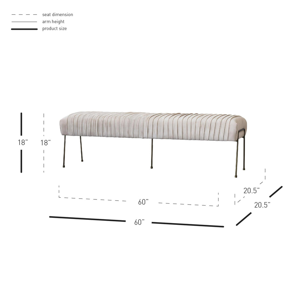Merritt Velvet Fabric Pleated Bench - What A Room Furniture