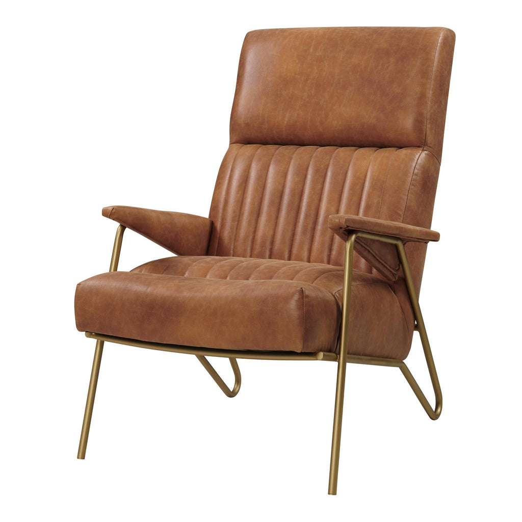 Caspian Bonded Leather Accent Chair Gold Legs - What A Room Furniture