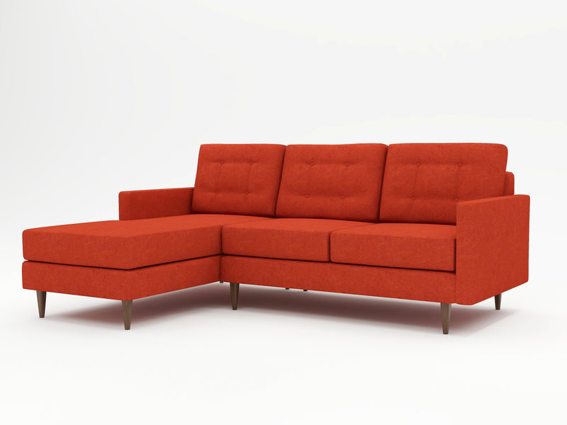 Striking coral colored sofa chaise