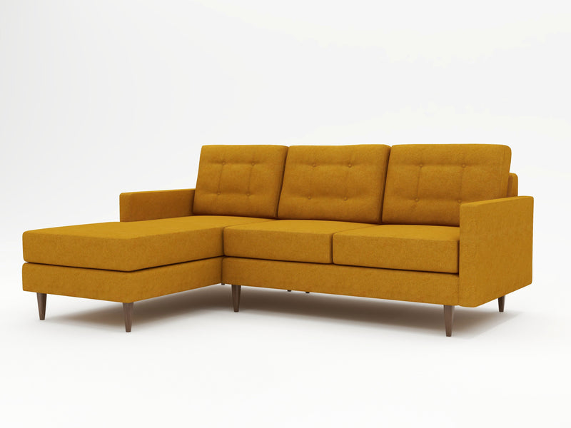 A medium yellow colored upholstery on a custom chaise sofa