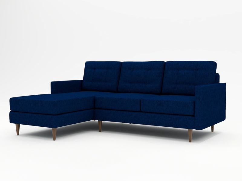 Medium sofa with a chaise return - dark blue