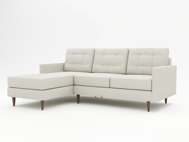 Light linen look on this customized sofa with chaise return