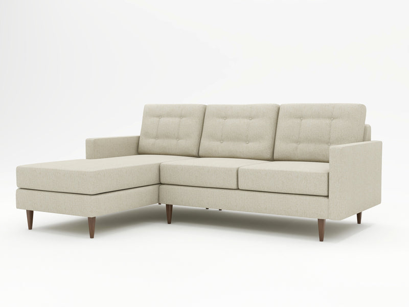 Sophisticated profile and custom color palette on this chaise sofa