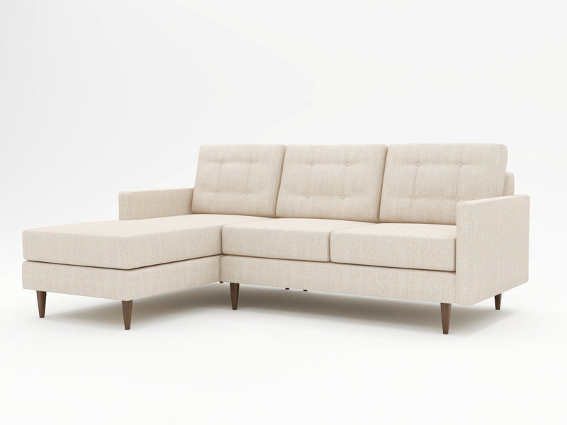 A chaise attached to a custom sofa wtih modern and contemporary design