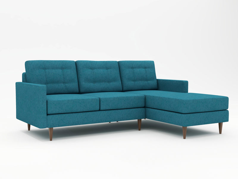 A nice mix of retro and modern in this custom chaise sofa