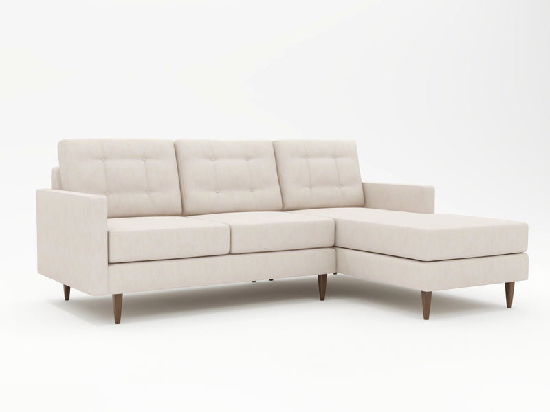 Light linen colored upholstery on custom chaise sofa