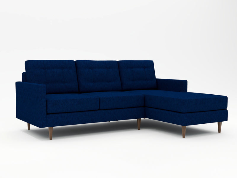 Spectacular custom retro mid-century sofa with a chaise in royal blue
