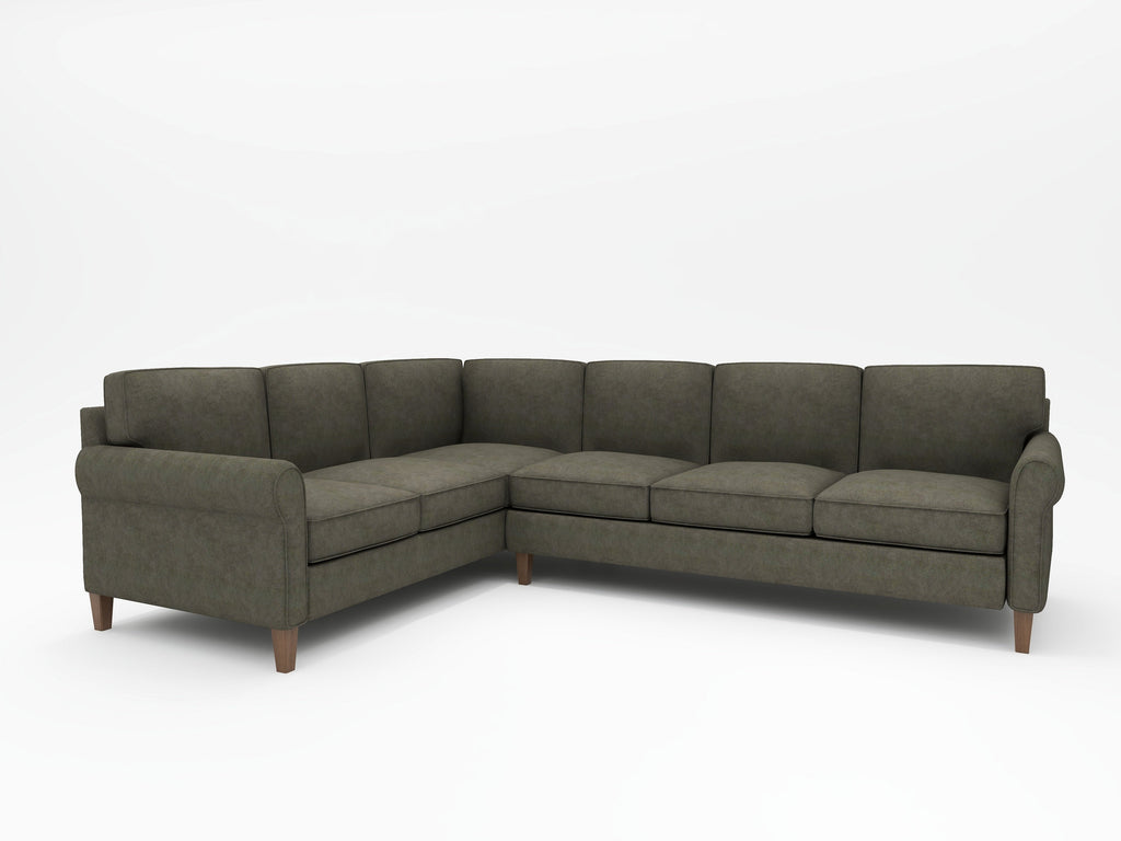 Mayfair Round Arm Upholstered L Sectional - What A Room Furniture