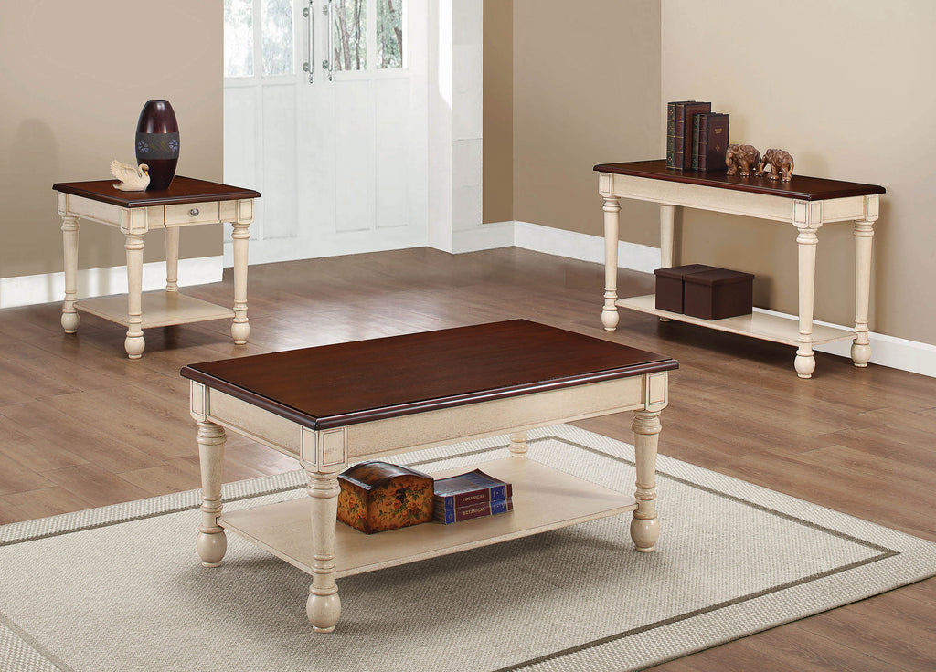 Transitional Dark Brown/Antique White Coffee Table - What A Room Furniture