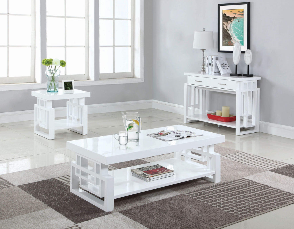 Transitional Glossy White Coffee Table - What A Room