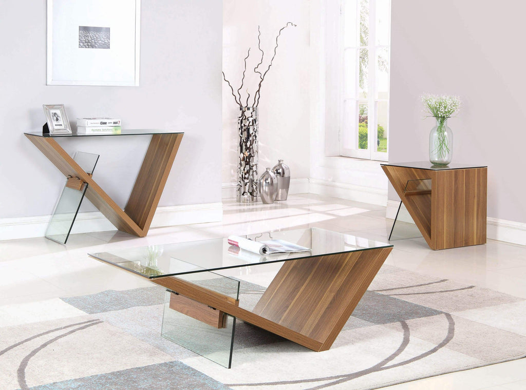 Rectangular Coffee Table Clear and Light Walnut - What A Room Furniture