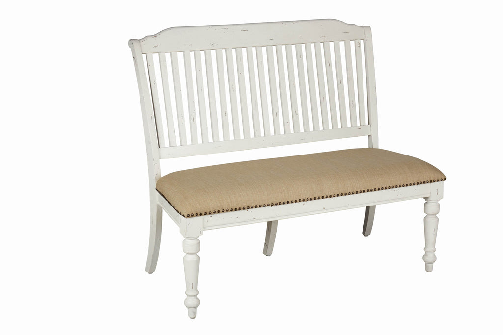 Simpson Slat Back Bench Vintage White - What A Room Furniture