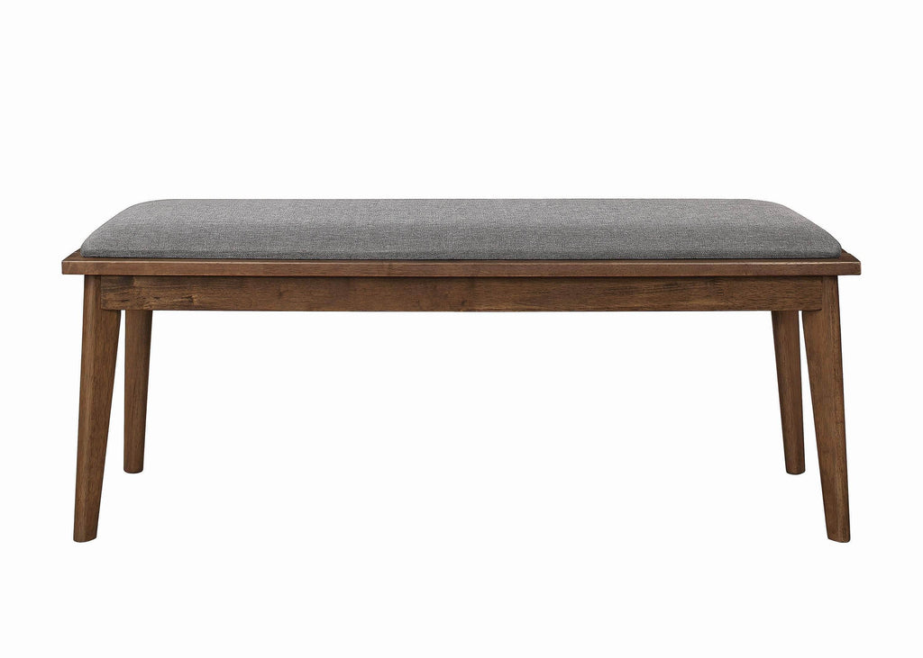 Alfredo Upholstered Dining Bench Grey and Natural Walnut - What A Room Furniture