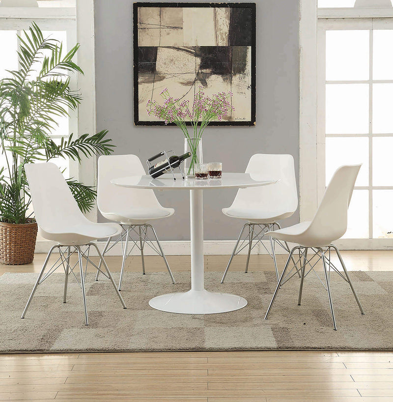 Lowry Contemporary White Dining Chair - What A Room Furniture