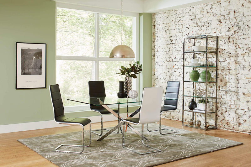 Broderick Contemporary Chrome and Black Dining Chair - What A Room Furniture