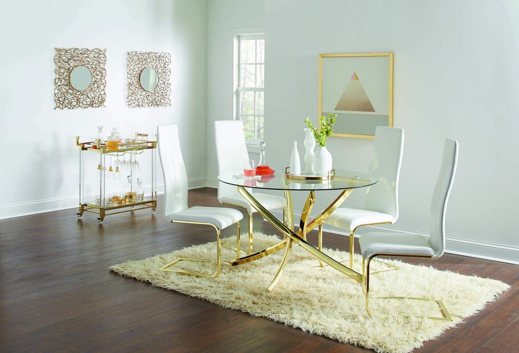 Chanel Modern White and Rustic Brass Side Chair - What A Room Furniture