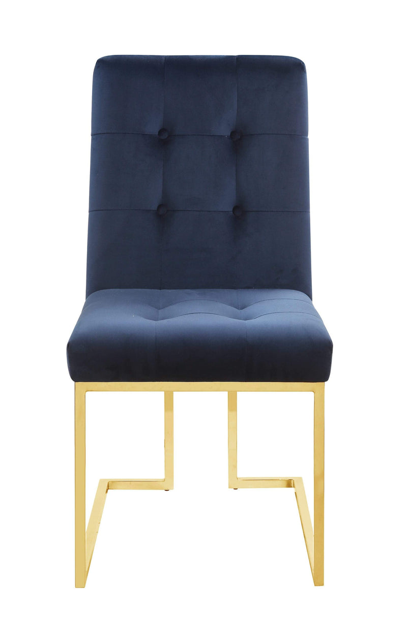 Scott Living Modern Ink Blue and Gold Dining Chair - What A Room Furniture