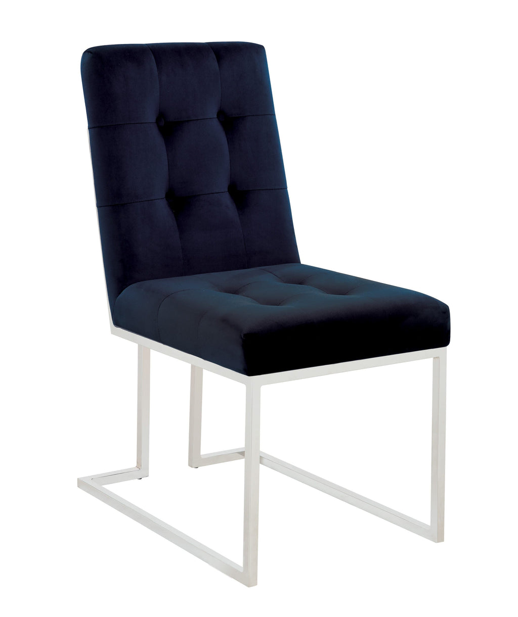 Scott Living Modern Ink Blue and Chrome Dining Chair - What A Room Furniture