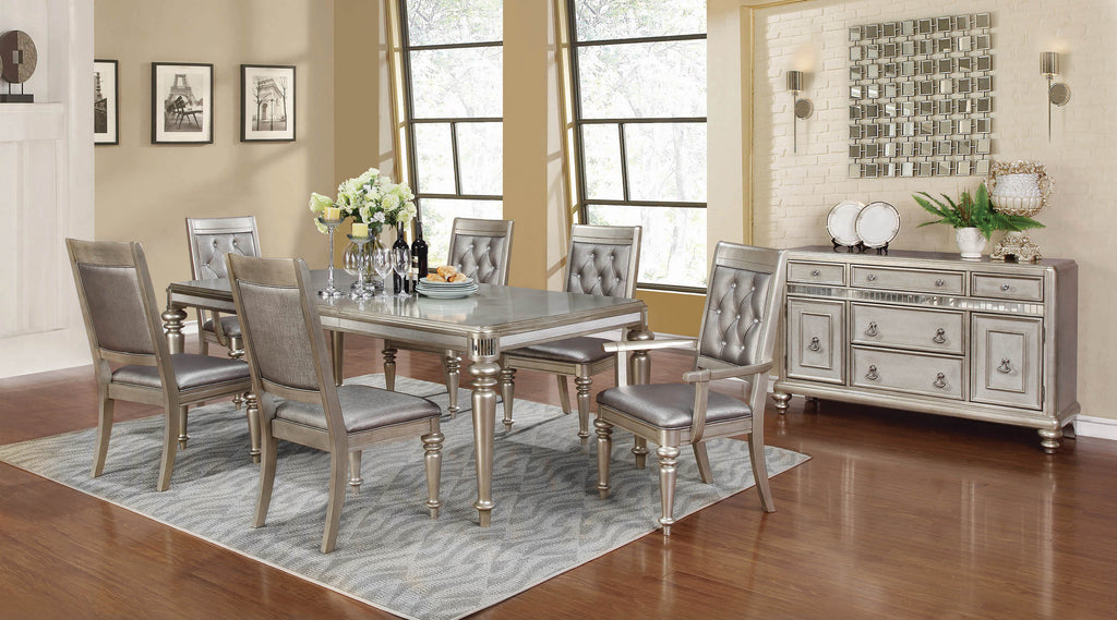 Bling Game Hollywood Glam Metallic Platinum Dining Table - What A Room Furniture
