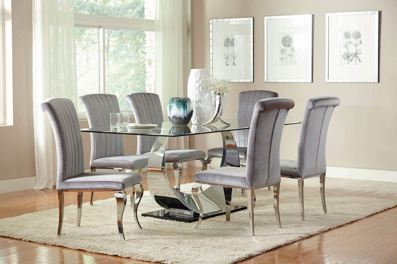 Manessier Contemporary Chrome Plated Dining Table - What A Room Furniture