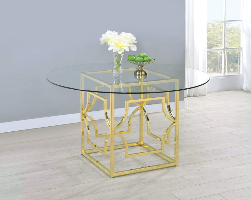 Scott Living Modern Gold Dining Table Base - What A Room