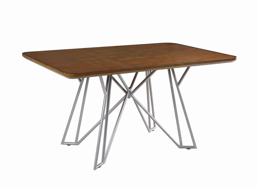 Ramsey Rectangular Dining Table Brown and Nickel - What A Room