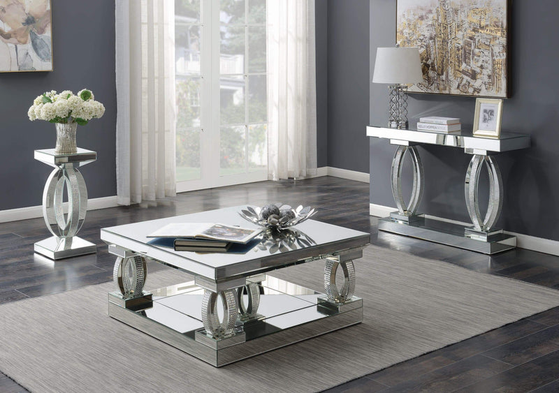 Contemporary Silver Mirrored End Table