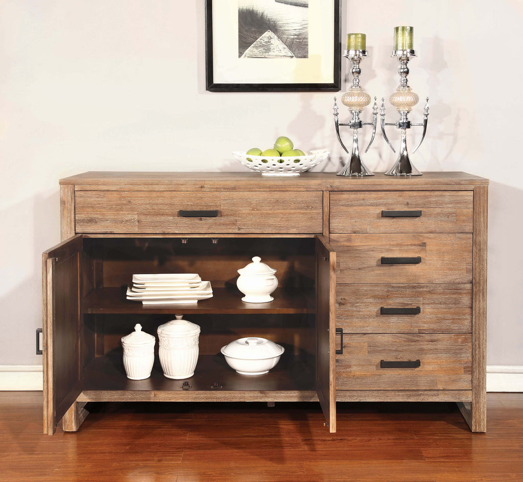 Elmwood Rustic Wire Brushed Nutmeg Server - What A Room Furniture