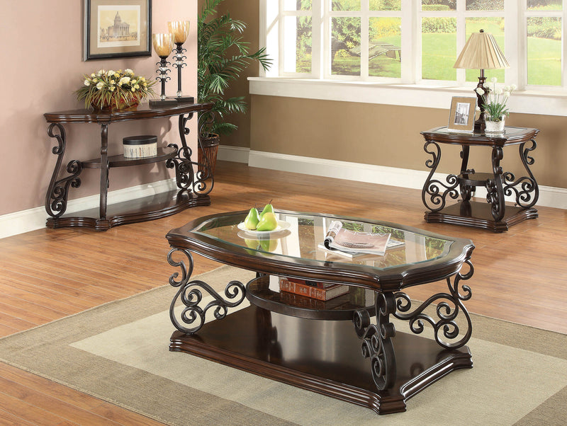 Occasional Traditional Dark Brown Sofa Table