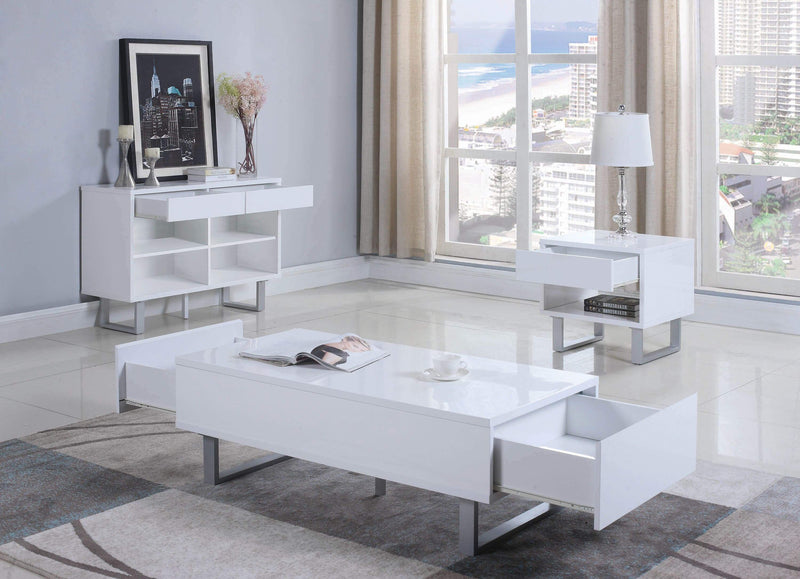 Contemporary Glossy White Sofa Table - What A Room
