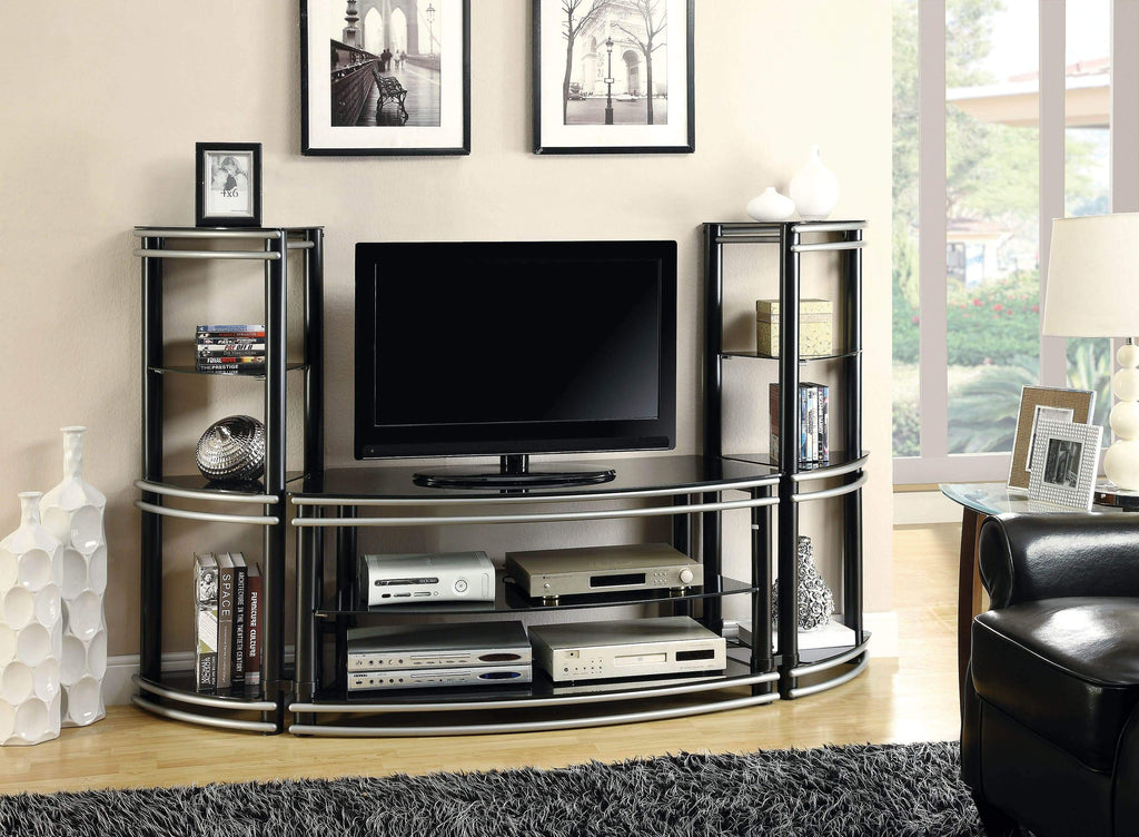 Contemporary Black and Silver Media Tower - What A Room Furniture