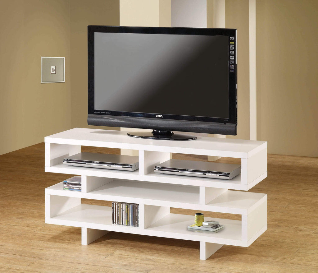 Contemporary White Open Storage TV Console - What A Room Furniture