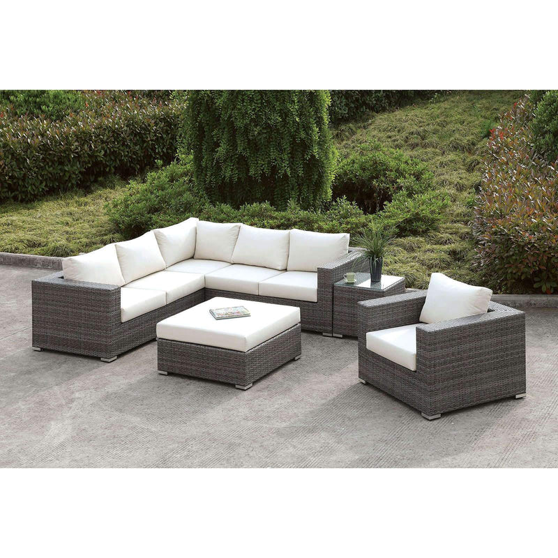 Somani Contemporary L-Sectional + Chair + Coffee Table + End Table - Light Gray / Ivory - What A Room